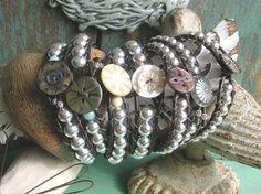 Sterling silver wrap bracelet   Elemental  leather by 3DivasStudio