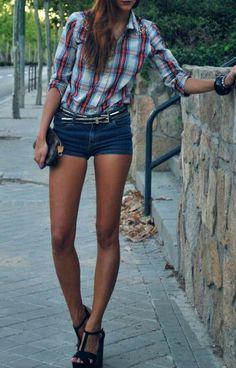 cuadros y pantalones cortos #summer Una chica alta ehh