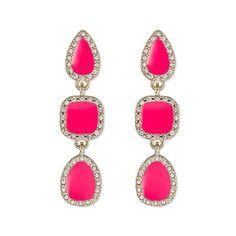 Sugarfix by BaubleBar Geometric Drop Earrings ($13) ❤ liked on Polyvore featuring jewelry, earrings, pink, lightweight earrings, acrylic earrings, post drop earrings, pink drop earrings and post back earrings