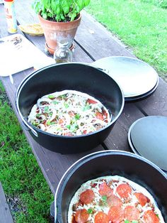 Pizza in the dutch oven last night we were camping, via Flickr.