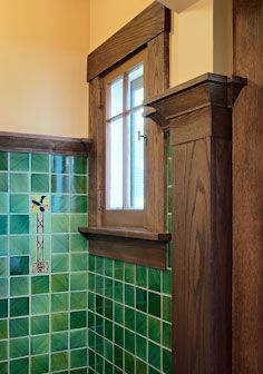 arts crafts style bathroom with green tile design by joseph g metzler - Bathroom Tile Ideas Craftsman Style