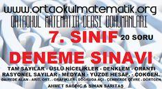 7. SINIF MATEMATİK DENEME SINAVI 7