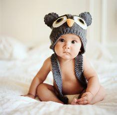 Hoot animal hats, owl babies, baby owls, baby pictures, baby girls, baby hats, knit hats, owl hat, kid