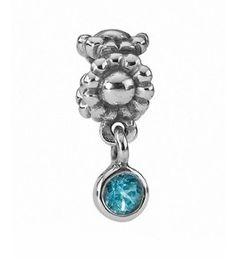 PANDORA Charm: blauer Paraiba Topas, 925/- Silber
