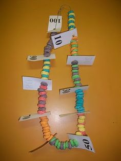 I couldn't have found this at a better time since this is one of Austin's assignments due on Tuesday! Here is an example of a student's 100th day of school necklace. It is made out of fruit loops. Students were encouraged to make patterns with the colors, as well as, make sections of 10 by using the dividers to separate the groups.