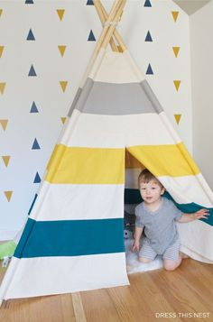 I made a teepee for my sons' room inspired by Land of Nod. Find out how here with detailed instructions and a pattern to make it yourself! I had this teepee when I was kid and it was the best! Diy Teepee, Teepee Nursery, Teepee Tent, Teepees, Kids Tents, Teepee Kids, Toddler Teepee, Toy Rooms, Kid Bedrooms