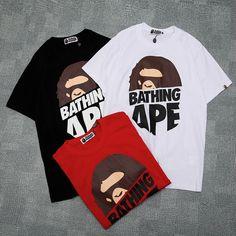 bb4dfc020 2019 Men Women Bape Ape Bathing Shark Jaw Monkey Head T shirt Top Tee Gifts  -