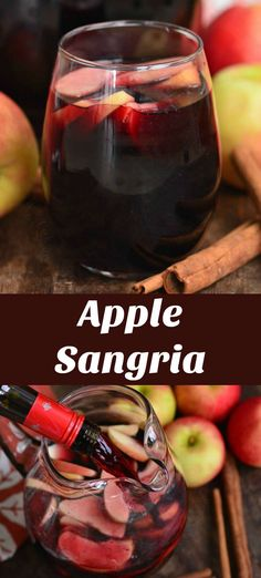 Winter Sangria, Red Wine Sangria, Apple Sangria, Fall Cocktails, Winter Drinks, Red Wine Cocktails, Cocktail Drinks, Red Sangria Recipes, Best Cocktail Recipes