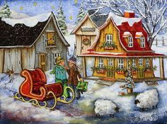 Christine Genest - Un souhait pour Noël Xmas Wallpaper, Sheep Art, Storybook Cottage, Christmas Clipart, Winter Art, Country Art, Canadian Artists, The Good Old Days, Painting Inspiration
