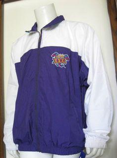 L Mens Reebok Super Bowl XXXI Full Zip Windbreaker Jacket Purple White Sewn NWT #Reebok