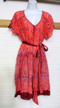 Anthropologie Lux Floral Flower Button Up Dress Sundress Vintage Pin-up Large L #LUX #ShirtDress #Casual
