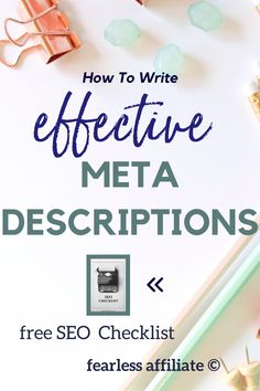 Writing an effective Meta Description by Fearless Affiliate. The meta description is your first chance to encourage readers to click over to your website, so don't waste it! Meta Description Examples. Meta Description SEO. Writing A Meta Description. How To Write A Meta Description. Blog Meta Description. Homepage Meta Description. #metadescription #seo #keywords #analytics