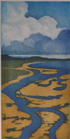 Old Harbour Channel - etching - Laurie Rudling, U.K.