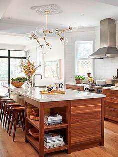 Walnut kitchen cabinets - Modern walnut kitchen - Walnut kitchen - New kitche. Walnut Kitchen Cabinets, Wood Kitchen Island, Kitchen Cabinet Design, Rustic Kitchen, Kitchen White, White Cabinets, Green Cabinets, Kitchen Reno, Farmhouse Kitchens