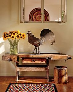 old work bench repurposed into gorgeous table