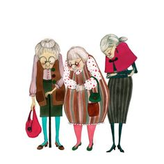 illustrated cute old ladies Old Lady Humor, Cartoon Characters, Fictional Characters, Emoticon, Old Women, Life Is Beautiful, Illustration, Safari, Artsy