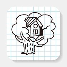 Doodle Treehouse vector art illustration