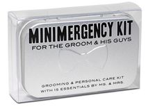 Minimergency® Kit for the Groom & His Guys  Contains 15 must-have items:   lip balm, dental floss, breath freshener, stain remover, mending kit, safety pin, extra buttons, shoe shine towelette, nail clipper, deodorant towelette, adhesive bandage, pain reliever, antacid, boutonniere pins, and extra wedding bands