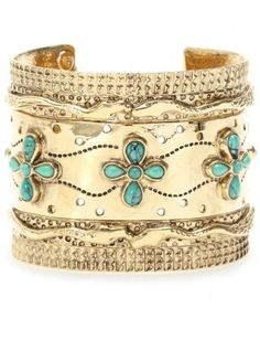 fc27239aabd Gold plated cuff with turquoise. Usually turquoise is paired with silver.  Karen Nuñez