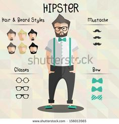 hipster character set - stock vector