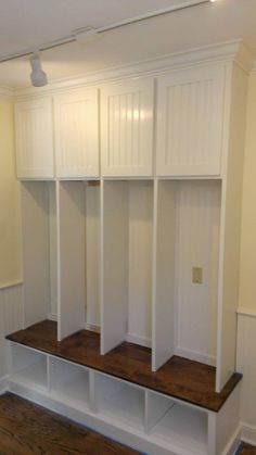 Mudroom lockers with beadboard and benchseat by Moyer