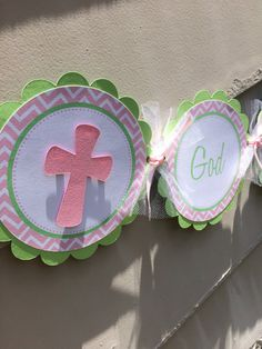 God Bless Banner Pink and Green by SimplyInspireDesigns on Etsy