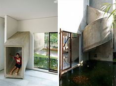 An outdoor/indoor slide instead of stairs. Very cool for kids! Ever since Webster I always wanted secret passage ways or a fireman's pool in our house. Why not a slide?!