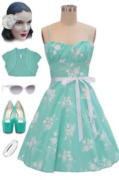 Brand new in store at Le Bomb Shop! Find it here: http://www.ebay.com/itm/50s-Style-MINT-Florals-ROUCHED-Bust-Bombshell-PINUP-Sun-Dress-w-Ribbon-SASH-/140941742435?pt=US_CSA_WC_Dresses==item6678bcafb5