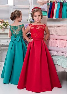 Bridesfamily Beautiful Tulle & Satin Bateau Neckline A-line Flower Girl Dresses With Sequin Lace Appliques & Belt & Bowknot African Dresses For Kids, Gowns For Girls, Frocks For Girls, Little Girl Dresses, Flower Girl Dresses, Flower Girls, Girls Dresses, Kids Party Wear Dresses, Pageant Dresses