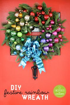 diy festive rainbow wreath inspired by charm ibcholidays 12day72ideas holiday wreaths holiday