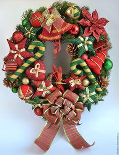 Купить Рождественский венок - ярко-красный, зеленый, золотой, рождественский венок, новогодний венок