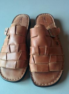 6575372ba86 Style BORN Hand Crafted Footwear Brown Leather Slip On Sandals.