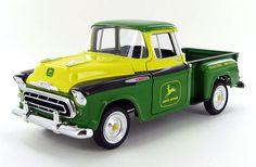 John Deere 1957 Chevrolet (1/25) Vintage Auto, Vintage Cars, Old Trucks, Chevy Trucks, Classic Trucks, Classic Cars, John Deere Decor, 1970 Chevelle, Farm Toys