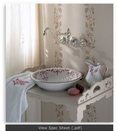 Available with other styles and colors of decorative inlay. I love this wash basin and pitcher. I love the wall mount faucet. I even like the simple stand. Baños Shabby Chic, Shabby Chic Bedrooms, Vessel Sink Bathroom, Bathroom Countertops, Bathroom Assessories, Small Bathroom Paint, Corner Sink, Victorian Bathroom, Wall Mount Faucet