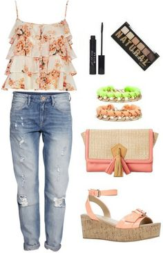 outfit idea: floral top with ripped jeans and wedges