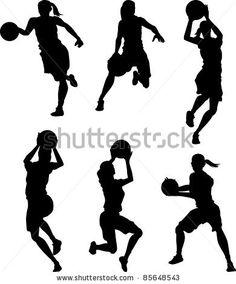 Basketball Female Silhouettes - stock vector