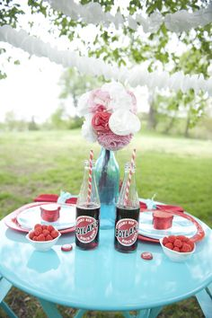 Retro red & turquoise picnic tablescape... I know it's to cold outside, but bring the color idea inside!