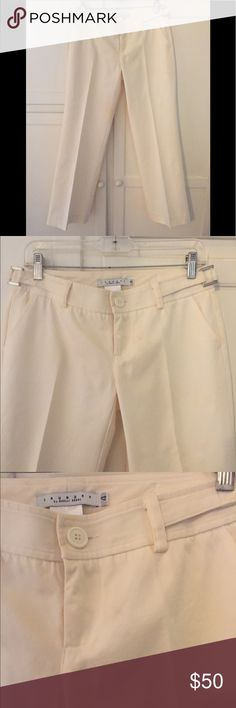 "FABULOUS Laundry pants off white metal hardware 4 These pants are so cute and have a mock belt with metal hardware. Some very small stains as pictured. 29"" inseam. These are FABULOUS! Laundry By Shelli Segal Pants"
