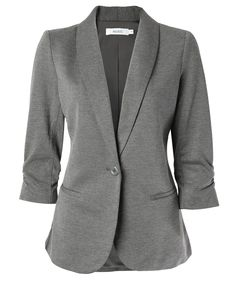 Ricki's: knit shawl collar blazer http://www.rickis.com Bought this blazer and I love it. The fit is very flatering.