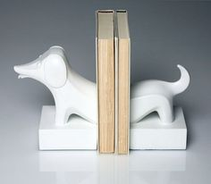 Jonathan Adler Dachshund White Resin Bookends- 2 Pieces