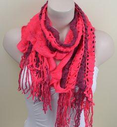 Red&burgundy Knitted Scarf  Wool Scarf  Cowl Scarf by cynosurestar, $15.00