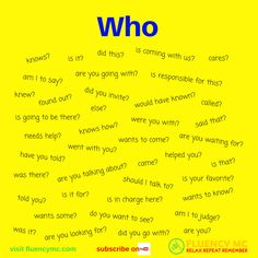 Phrases / Questions - Who ...? Make your own sentence! Practice!