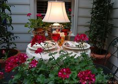 Summer table setting on the deck with Between Naps on the Porch