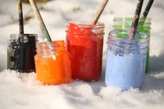 Painting the Snow. We did this a couple of times last winter. It's such a cool outdoor activity for kids of all ages! (happy hooligans)