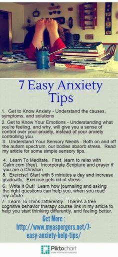 7 Easy #Anxiety Help Tips via http://www.myaspergers.net