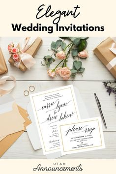 Keep your wedding simple yet elegant with this wedding invitation. The use of typography complemented with a gold border is a perfect combination of simplicity and sophistication. Wedding Invitation Trends, Simple Wedding Invitations, Wedding Simple, Simple Weddings, Flourish, Swirls, Announcement, Typography, Place Card Holders