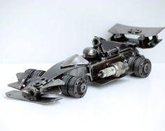 ESCULTURA en METAL Formula uno F1 modelo reciclado hecho a mano de arte de regalo para aniversario cumpleaños boda fresco regalo de Navidad para cumpleaños hecho a mano