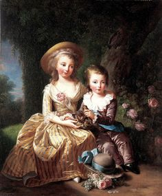 Madame Royale and the Dauphin Seated in a Garden by Elisabeth Vigee-Lebrun…