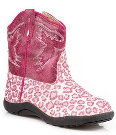 Roper Baby Girls Infant Chunks Pink Glitter Leopard Faux Leather Cowboy Boots