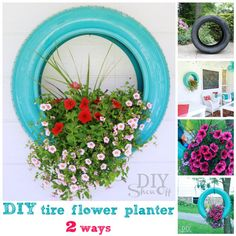 Tire Flower Planter | DIY Curb Appeal Porch Improvement Ideas by DIY Ready at http://diyready.com/diy-ideas-home-improvement-on-a-budget/